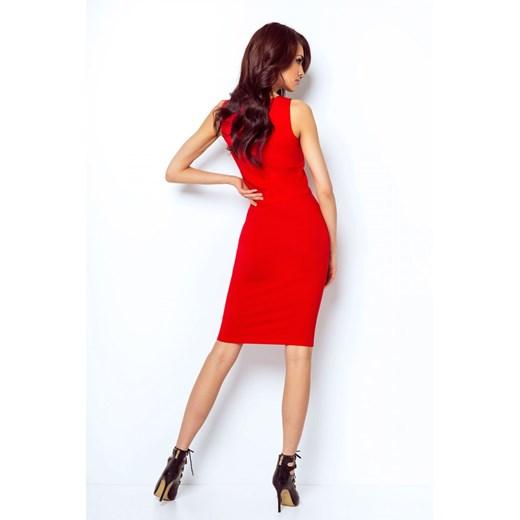 Spódnica czerwona Ivon z elastanu midi bez wzorów Odzież Damska OP czerwony JTGS