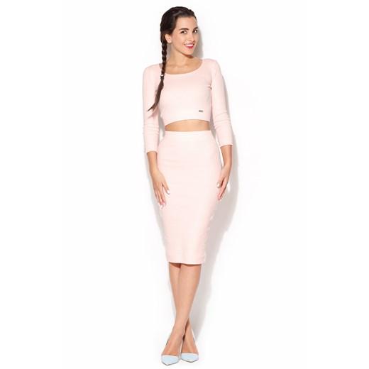 Różowy Dzianinowy Komplet Bluzka + Midi Spódnica porównaj