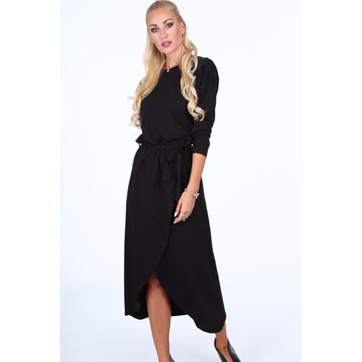 Sukienka czarna Fasardi dzienna Odzież Damska HN czarny JUKJ