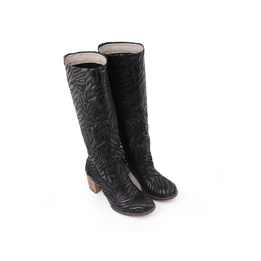 Kozaki damskie Zapato czarne z cholewką przed kolano w