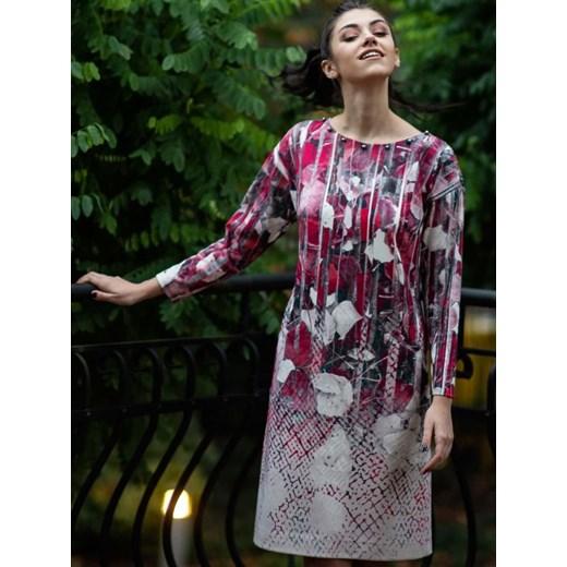 Sukienka ze zdobionym dekoltem Potis & Verso LUBA fioletowy Eye For Fashion Odzież Damska CD wielokolorowy WSIN