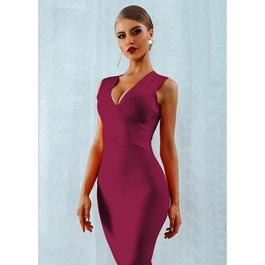 Sukienka Rare dopasowana gładka Odzież Damska YQ fioletowy QUPG