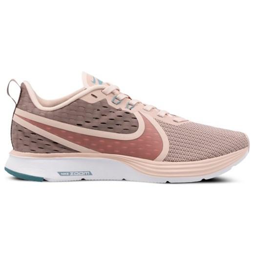 Buty sportowe damskie Nike dla biegaczy zoom wiązane bez wzorów beżowe na płaskiej podeszwie