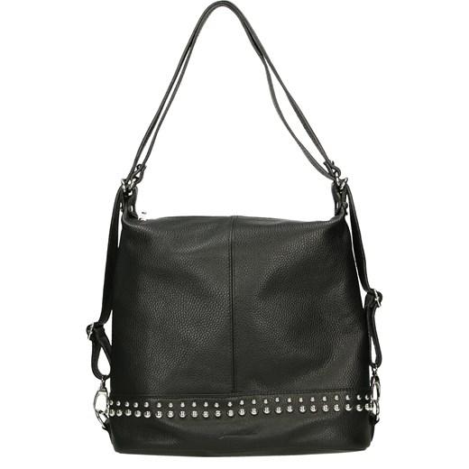 Shopper bag czarna Venezia z aplikacjami elegancka