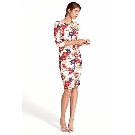 Kwiatowa Elegancka Dopasowana Sukienka w Kwiaty z Wycięciem