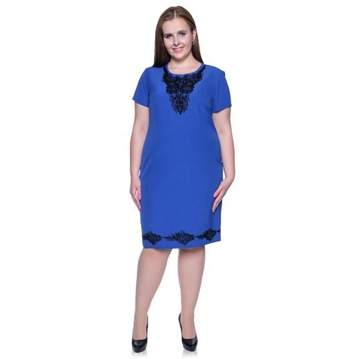 Sukienka dla puszystych z elastanu z okrągłym dekoltem midi Odzież Damska GA niebieski ZZSW