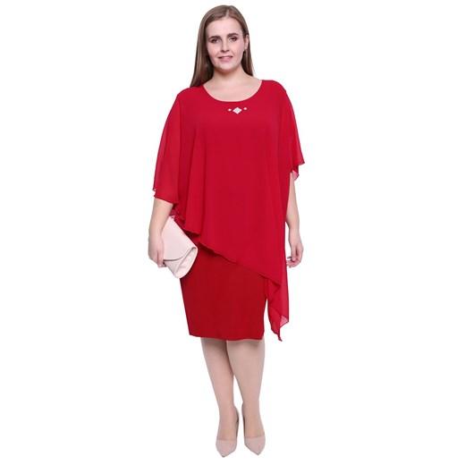 Sukienka czerwona midi dla puszystych