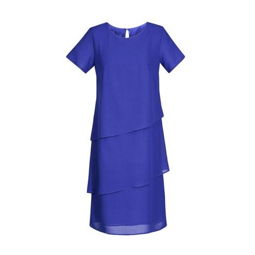 Sukienka z okrągłym dekoltem elegancka Odzież Damska ML niebieski FFES