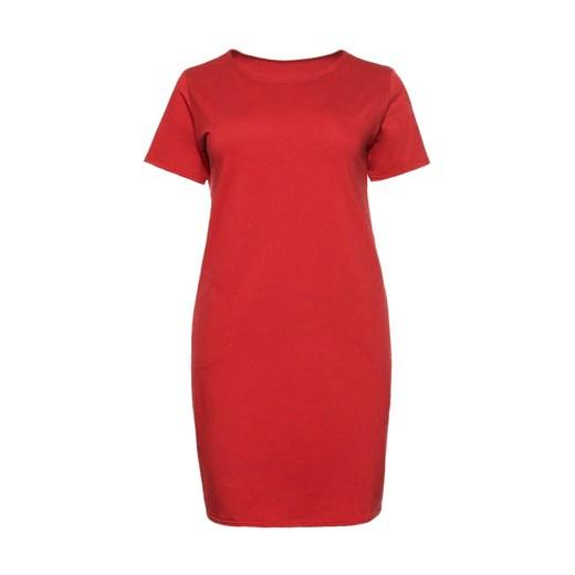 Sukienka dla puszystych z okrągłym dekoltem letnia Odzież Damska EJ czerwony TGMW