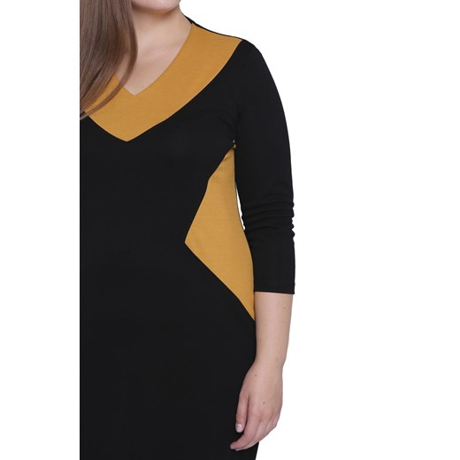 Sukienka czarna wyszczuplająca z długim rękawem midi Odzież Damska QN czarny ITXN