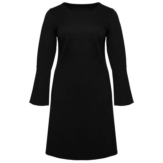 Sukienka czarna z okrągłym dekoltem bez wzorów z elastanu Odzież Damska RP czarny HLHJ