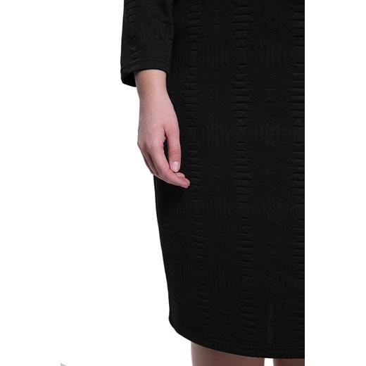 Sukienka z długim rękawem dla puszystych gładka midi Odzież Damska CM czarny WTEF