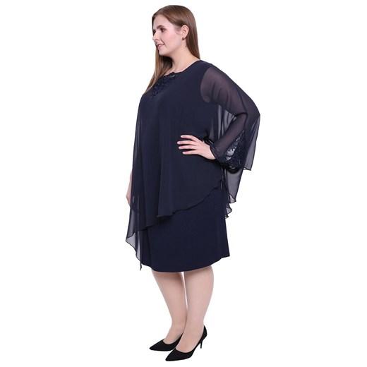 Sukienka dla puszystych midi z wiskozy Odzież Damska GR niebieski OUNU