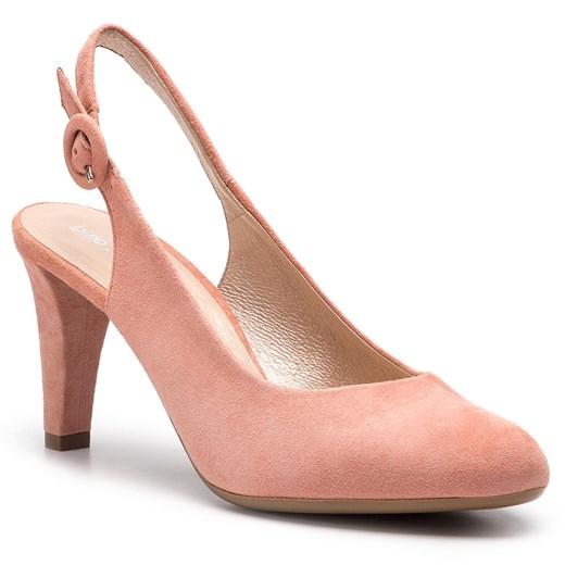 Czółenka różowe Gino Rossi eleganckie bez wzorów z klamrą