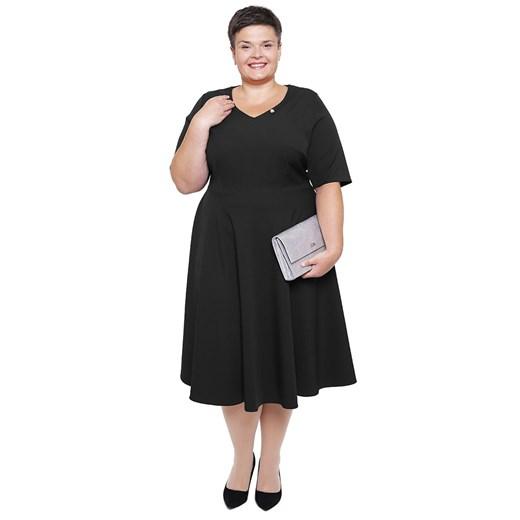 Sukienka dla puszystych midi Odzież Damska CP czarny SFJU