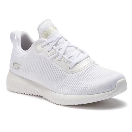 Buty sportowe damskie Skechers do fitnessu białe z tworzywa sztucznego bez wzorów na płaskiej podeszwie sznurowane
