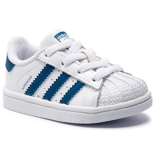 Buciki niemowlęce Adidas bez wzorów wiązane białe wiosenne