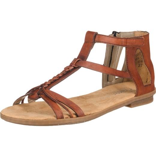 Sandały damskie brązowe Rieker bez wzorów skórzane na zamek