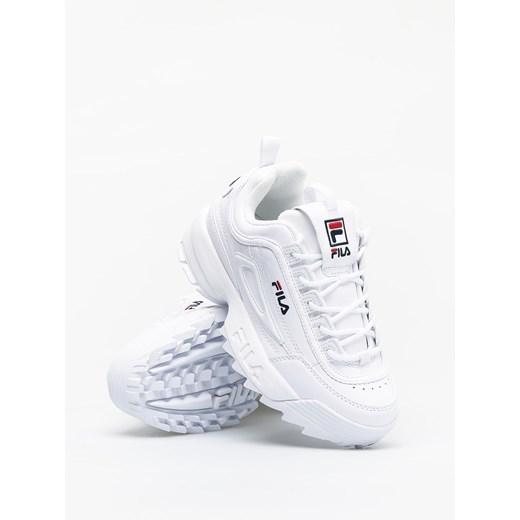 Sneakersy damskie białe Fila z gumy bez wzorów wiązane w Domodi