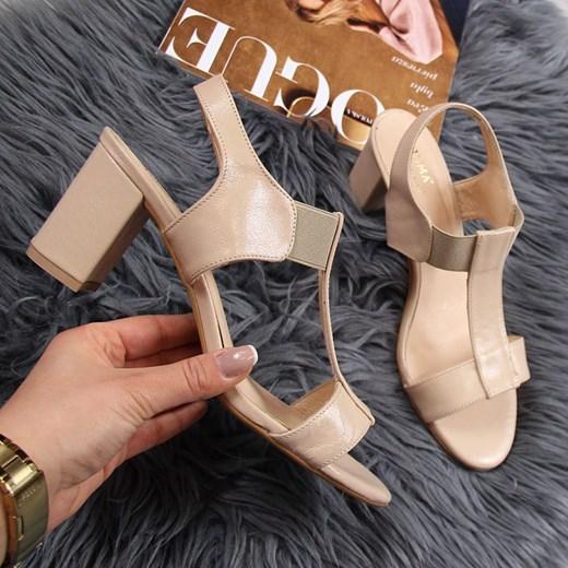 Juma sandały damskie skórzane na obcasie