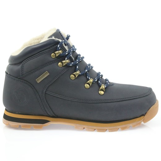 Buty zimowe dziecięce czarne American Club bez wzorów sznurowane trapery z nubuku