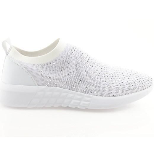 Białe buty sportowe damskie American Club bez wzorów bez zapięcia na płaskiej podeszwie na wiosnę