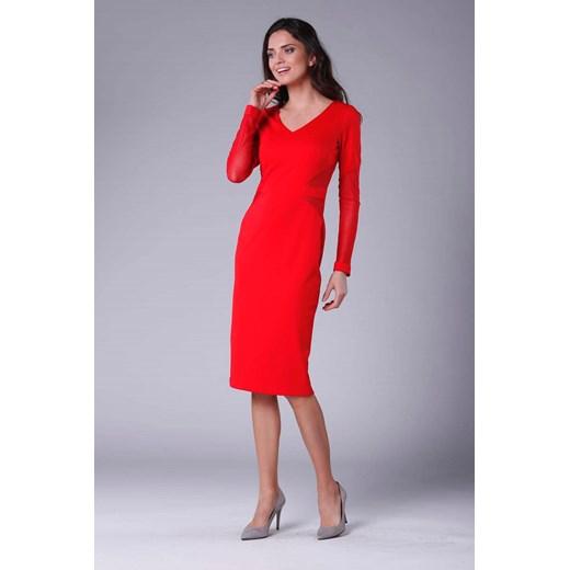 Czerwona sukienka Nommo midi z wiskozy ołówkowa na wiosnę w
