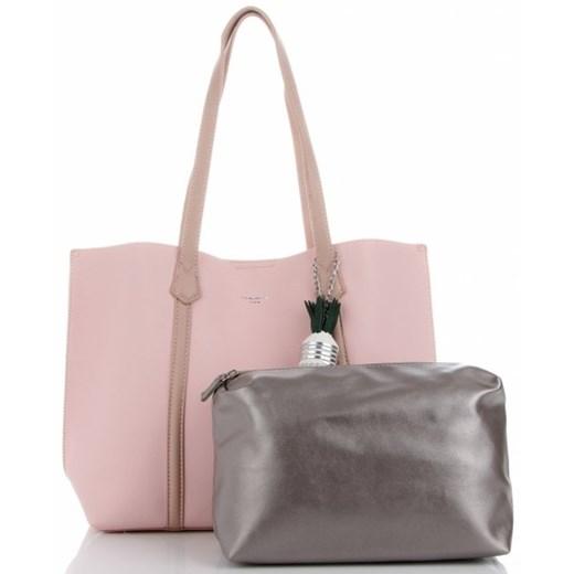 Shopper bag David Jones matowa z breloczkiem duża na ramię