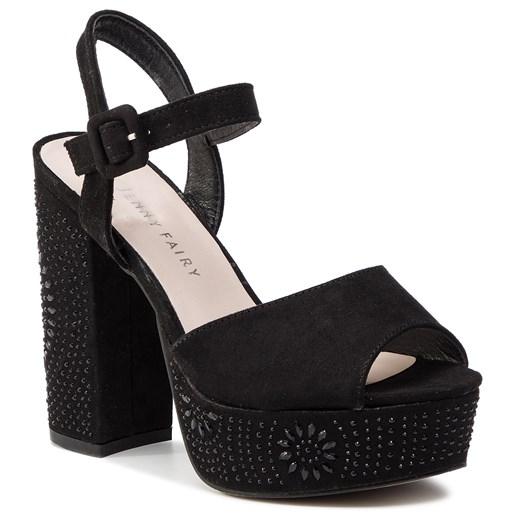 Sandały damskie Jenny Fairy czarne bez wzorów na wysokim