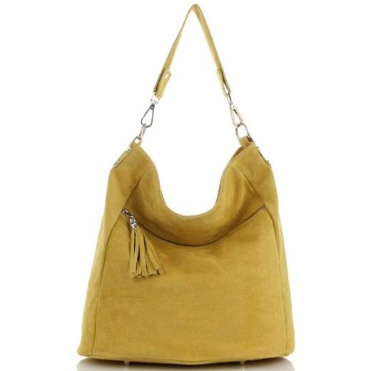 Shopper bag Genuine Leather w stylu boho z frędzlami duża na