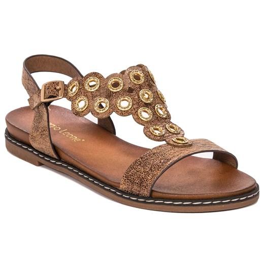 Sandały damskie Sergio Leone gładkie na lato bez obcasa casual brązowe płaskie