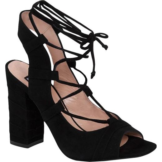 sandały czarne damskie na obcasie do 100zl