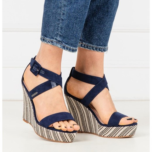 Sandały damskie Pepe Jeans eleganckie na obcasie z klamrą z