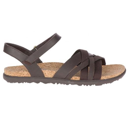 Sandały damskie brązowe Merrell płaskie skórzane casual gładkie bez obcasa