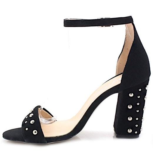 Tymoteo sandały damskie gładkie czarne na słupku
