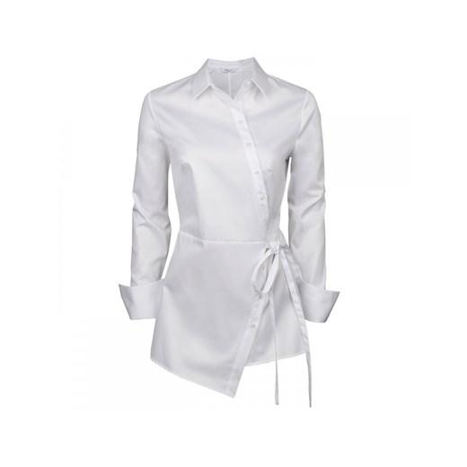 Koszula damska biała z kołnierzykiem elegancka wiosenna z  alMBI