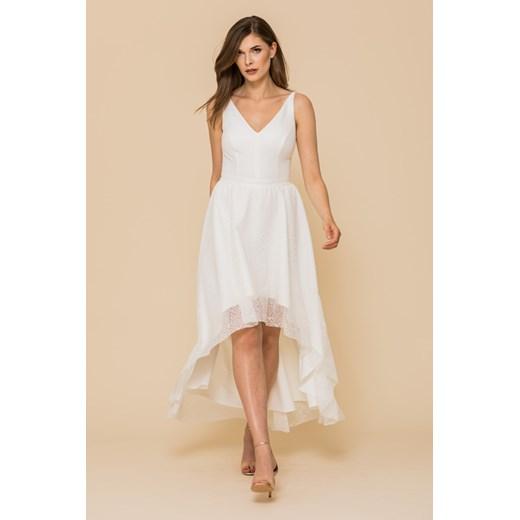 Sukienka biała Vissavi na ślub cywilny asymetryczna midi na wiosnę z elastanu