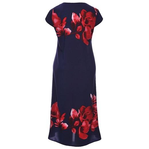 Sukienka casualowa niebieska z okrągłym dekoltem z krótkim rękawem w kwiaty Odzież Damska UR niebieski IPMG