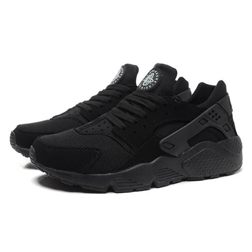 Buty sportowe męskie czarne Nike huarache sznurowane z gumy
