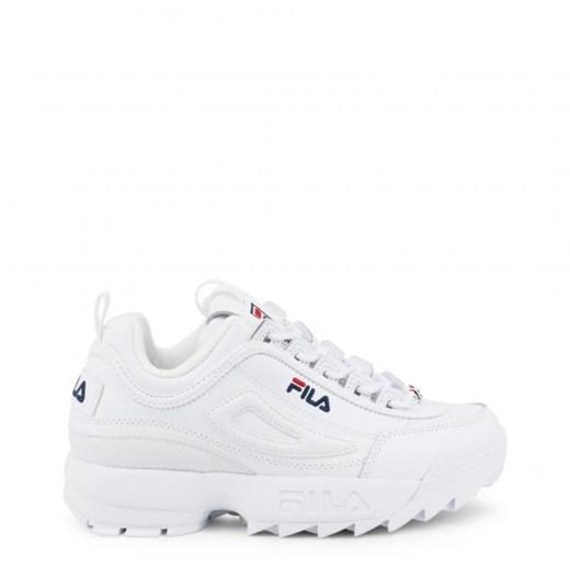 Buty sportowe damskie Fila płaskie gładkie białe wiązane