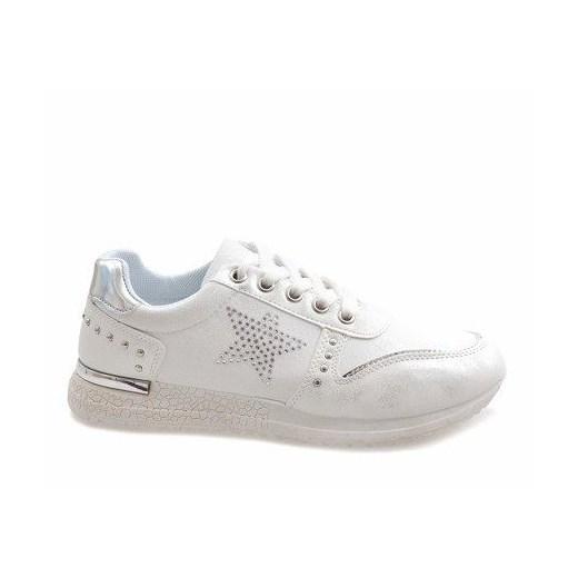 Buty sportowe damskie białe Butymodne młodzieżowe bez wzorów płaskie ze skóry ekologicznej