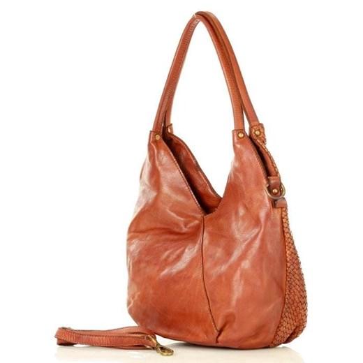 Shopper bag Mazzini matowa pomarańczowy średniej wielkości bez dodatków na ramię