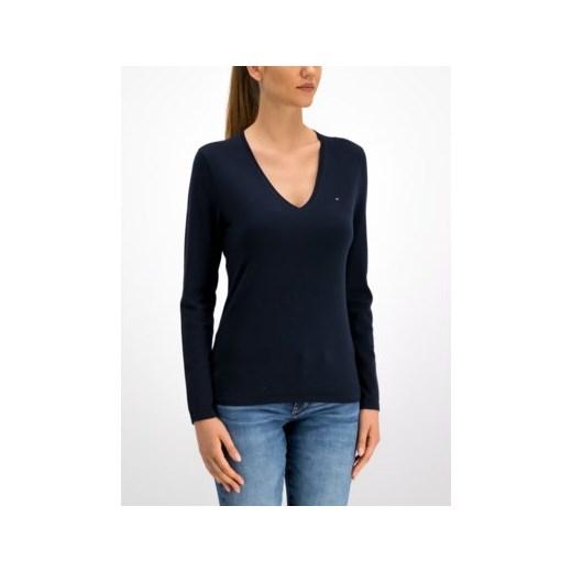 Sweter damski Tommy Hilfiger z dekoltem w literę v Odzież Damska EJ niebieski AERN