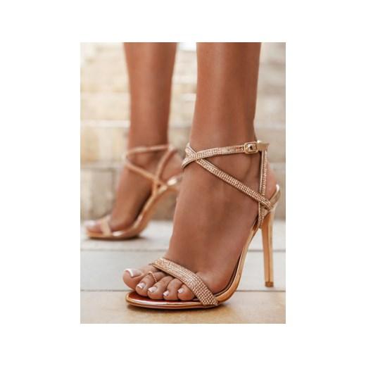 DeeZee Złote sandałki na szpilce Fiji w sklepie DeeZee.pl