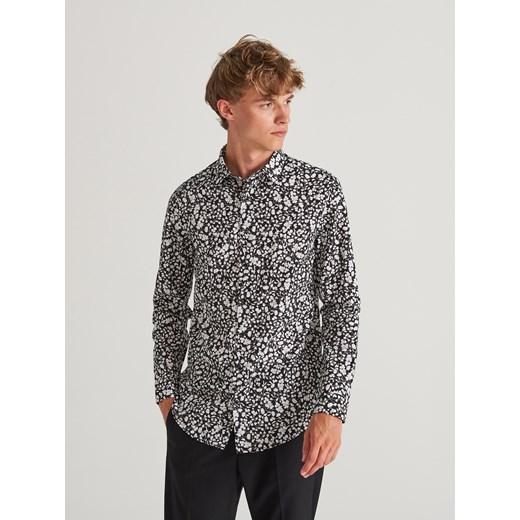Koszula męska Reserved szara z długim rękawem w stylu  xGMg0