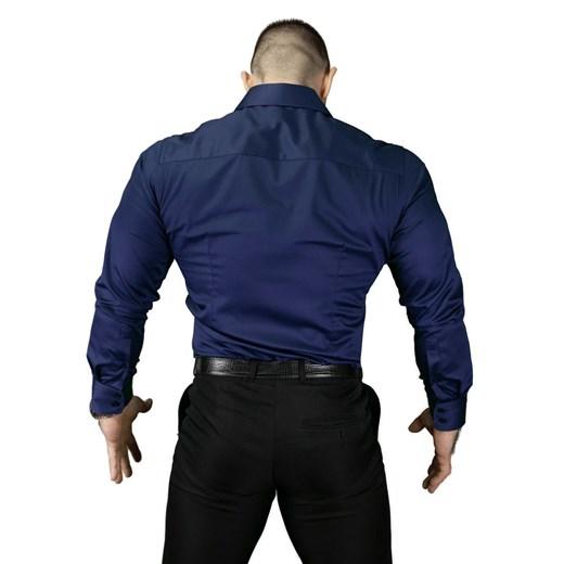 Koszula męska Atleto granatowa z długimi rękawami w Domodi