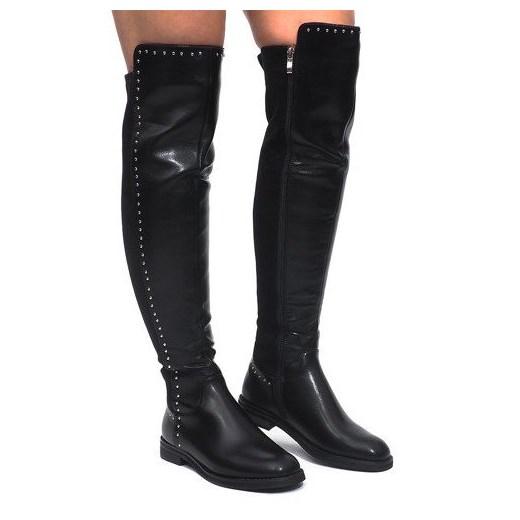 Butymodne kozaki damskie czarne za kolano zamszowe z zamkiem