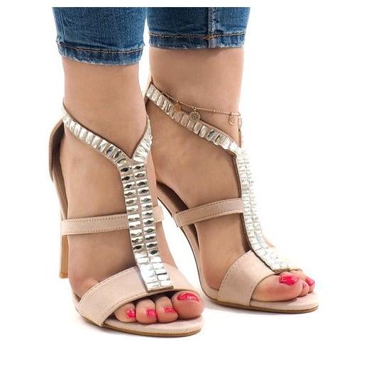 Sandały damskie Butymodne z zamszu różowe na wysokim obcasie na szpilce na lato eleganckie