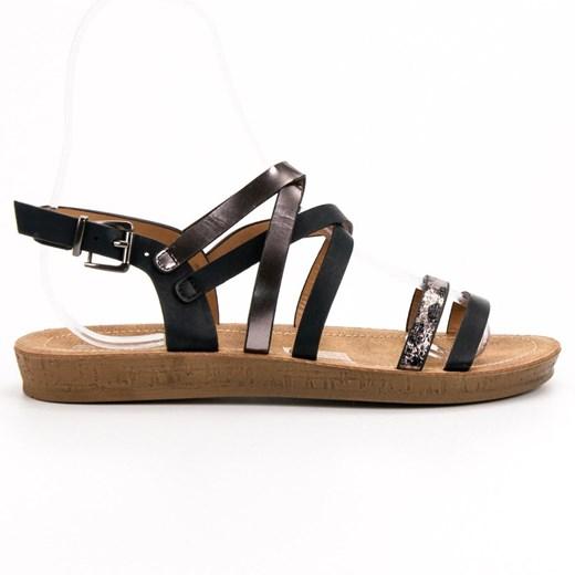 Sandały damskie białe Seastar z klamrą płaskie bez wzorów ze skóry casual