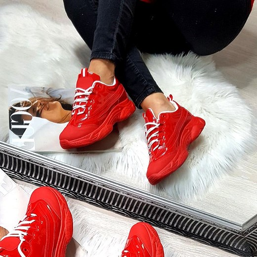 Sneakersy damskie wiązane na platformie e153n